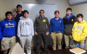 Paper Wolf alum Mark Bonner (center) is flanked by current staff members (from left) Kenny Ross, Connor Mahony, Logan Lendrop, John-Michael Lomzenski, Matt Spedale, and Barry Auxilien.