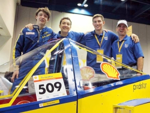 Bobby Bayer, Trent Pouey, Justin, and Mike Cobb at the Shell Eco-marathon competition.