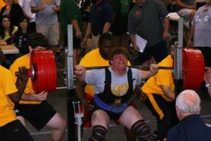 Nick Blaise attempts a squat.