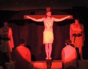 Senior Lyle Manion as Jesus on the cross.