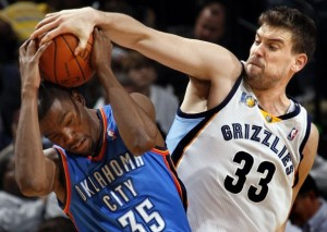 Marc Gasol blocks Kevin Durant in a western conference shootout. NBA.com