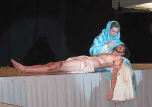 A crucified Jesus lays in Mary's arms.