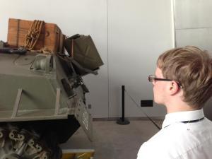 Junior Adam Cannon admires a tank.
