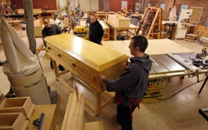 The Abbey has only recently opened its casket sales to the general public.  Picture from  www.religionnews.com