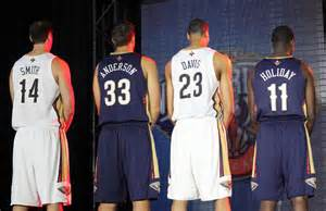 Pelican players show off their new jerseys. (Photo from solecollector.com)