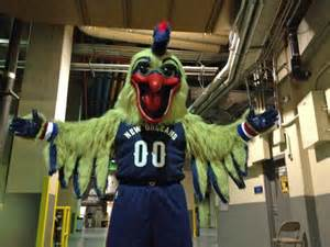 New mascot Pierre the Pelican gets ready for the season opening game.