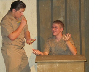 """Nick played opposite Jonah Knickles in the school's fall production of """"The Teahouse of the August Moon.""""     (photo by Karen Hebert)"""