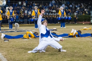 Junior drum major Lane Sumrall dancing during the Daft Punk themed halftime show. (Photo Joey Michel)