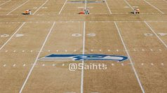 The Seahawks logo on the Saints practice facility field. (photo from the Saints official twitter page.)