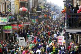 The crowd in the French Quarter celebrates Mardi Gras (photo by Nick Tann)