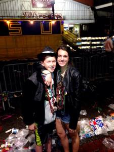 Reese after a Mardi Gras parade with a friend