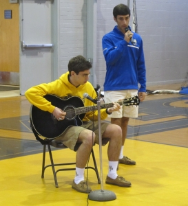 Bryan Livaudais and Peter Yaegar perform for the SPS faculty and students. ( photo by Karen Hebert)