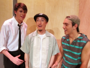 "Trey alongside Michael Stewart and Jonathan Damare in the St. Paul's play ""In the Heights"" (photo by Karen Hebert)"