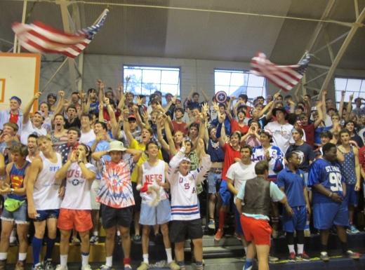 St. Paul's fans going crazy after winning an event waving the Flags and screaming. (Photo by Karen Hebert)