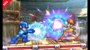 Screenshot from the 3DS version featuring Samus and newcomer Mega Man. Photo from officialnintendomagazine.co.uk