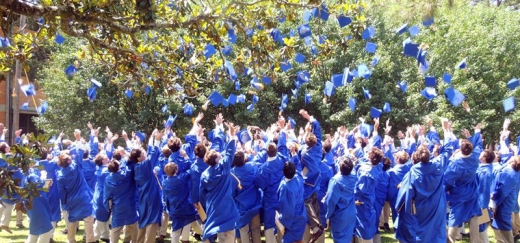 Graduates from the class of 2014 toss their caps in the air following the graduation ceremony. (photo courtesy SPS FaceBook page)