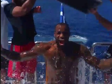 Cleveland Cavaliers SF LeBron James is but one of the multitude of celebrities to take on the Ice Bucket Challenge (Photo credit: MTV.com)