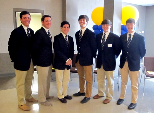 Student speakers Seniors Beau Briggs, Ross Allbriton, Phillip James, Max Gold, and Juniors Luke Avenel and John Cresson prepare to talk about there experiences relating to the schools principles.