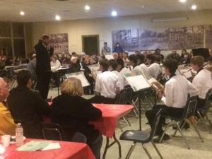 St. Paul's Jazz Band performs for a packed cafeteria following the prayer service.