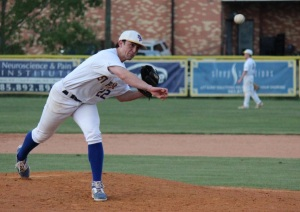Ace pitcher Senior Carlo Graffeo on the mound last year. (Photo credit: Joey Michel Photography)