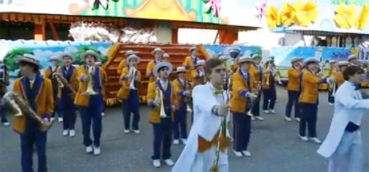 Marching Wolves entertain the Endymion krewe while they set up their floats last Saturday. (Image: Scree Shot of video clip from New Orleans Local guide)