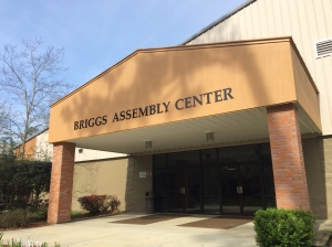 The main entrance to the Briggs Assembly Center now has a more clear identity due to its new signage. (Photo by Nick Ashton)