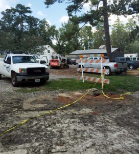 Construction crews now occupy a section of the campus that was previously used for parking. (photo by Tyler Petro)