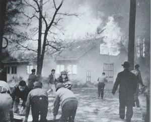 The Chapel fire of 1955 destroyed the all-wood structure, with very little being recovered. (Photo from SPS 75th Anniversary Album)