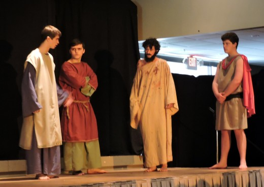 Jesus is confronted by the Ciaphus (Sam Nuss), and another Pharisee (Austin Hayes).