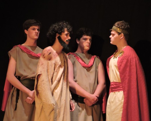 Jesus is questioned, and found innocent, by Pontius Pilate.