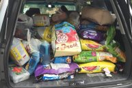 An SUV is filled to brim with pet supplies collected by the Student Council to deliver to the St. Tammany Parish Human Society. (photo courtesy Paul Stolin)
