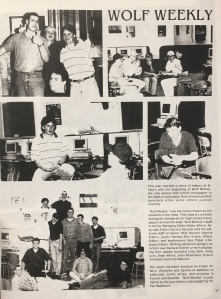 The staff of Wolf Weekly collaborates in the 1994 edition of the Conifer. (Photo courtesy Conifer yearbook)