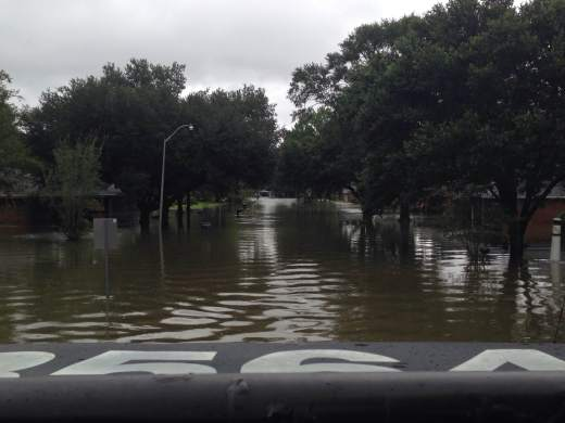 The view from a rescue vehicle offers a perspective into the flooding's scale. (Photo by Landon Chambliss)