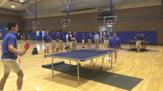 Junior Jordan Edney smokes senior Oliver Sibley, sending him to the losers' bracket during an early round of the ping pong competition.