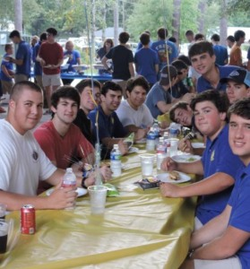 A group of seniors enjoy camaraderie and the launch of Senior Week with the annual Senior Barbeque on Aug. 14. (photo by Danielle Lavie)