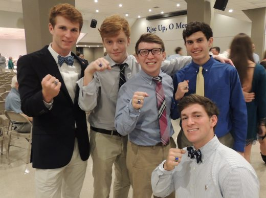 Seniors Will Murphy, Austin LeBlanc, Oliver Sibley, Zach Serpas, and Thomas Carriere show off their rings.