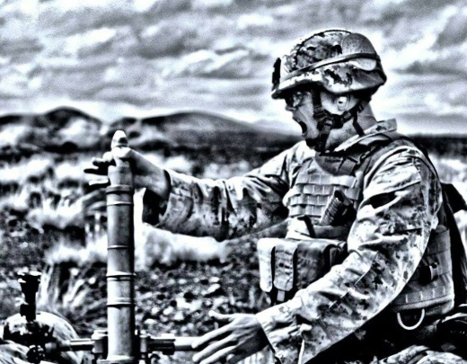 "Cpl. Brennan Mckey yells ""hanging"" as he prepares to launch a mortar. The announcement alerts mortar squad of an impending launch. (photo courtesy Brennan Mckey)"