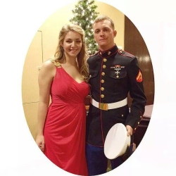 Caitlyn and Brennan Mckey honor the birthday of the U.S. Marine Corps at the annual Marine Corps Ball on Nov. 10, 2014. (photo courtesy Brennan Mckey)