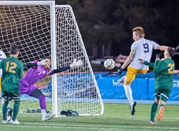 Colin Ross ('16) scoring a goal against Acadiana in the 2016 5A State Soccer Championship. Ross was named the 2016 Gatorade Soccer Player of the Year and currently plays for Regis University in Colorado.