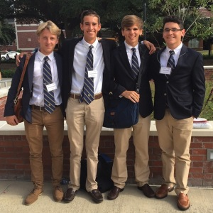 Club members Jacques du Passage (far left), Chris Wilson, Jakob Massey, and Joshua Verges (far right), are enjoying the nice fall weather as they stop for a quick picture. (Source: )