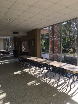The uninhabited cafeteria miraculously stays tidy and symmetrical between breakfast and lunch. (Photo: Tyler Petro)