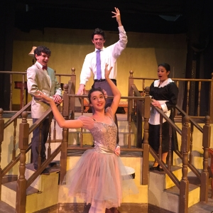 Mr. Kolenkhov (Isaac Hebert, back center) instructs Essie Sycamore (Abby Hayes, front center), while Donald (Josh Rovira) and Rheba (Bella Vargas) look on in amazement.