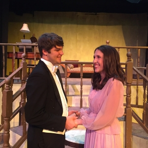 Tony Kirby (Reagan Hill) and Alice Sycamore (Julia Albright) share a moment after their engagement becomes official.