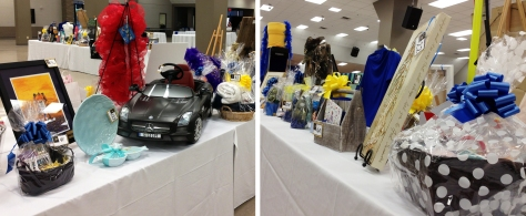 Silent auction items already line the Briggs Assembly Center in anticipation for Saturday's Jazz 'n Roll event. Individual items can be viewed on the auction site, where bidding is already open. (photos by Jake Arena)
