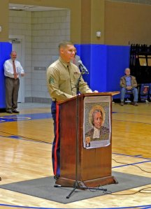 Sergeant Christian Guilbeau delivers a rousing talk to the St. Paul's student body. (Photo by Karen Hebert)
