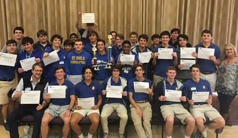 St. Paul's School's delegates to the Louisiana Scholastic Press Association conference held in November showcase the plethora of awards. (photo by Courtney Caulfield)