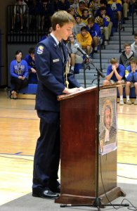 JROTC leader Ruston Keller delivers the opening address at the assembly. (Photo by Karen Hebert)