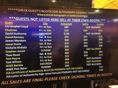 Prices for pictures and autographs are displayed for fans.