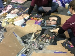 Artists work over 22 hours on a giant Star Wars chalk mural.