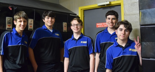 Members of the Bowling Wolves prepare to play at a match at Tangi Lanes. Pictured are Joseph Brown, Jared Kreager, Peter Bertucci, Matthew Aupid?? and Jonathan Wellmeyer. (photo courtesy Coach Peter Bertucci)